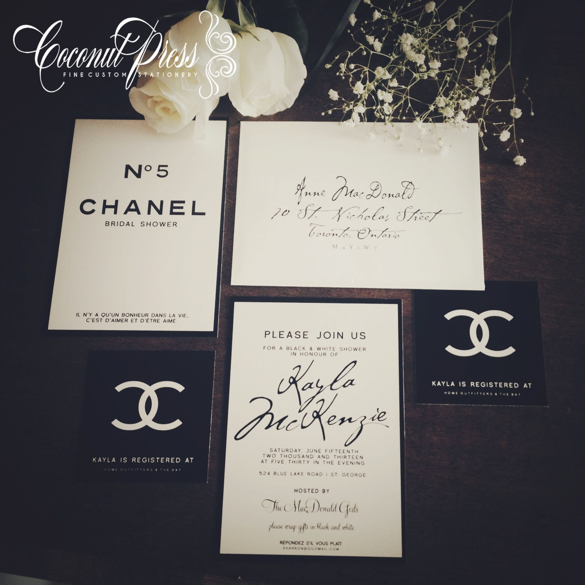 Classy Black White Coco Chanel Inspired Bridal Shower