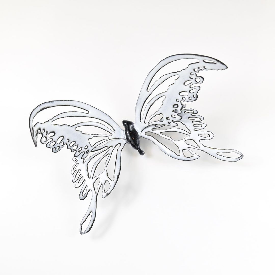 "CHRISTIE HACKLER on Instagram: ""Mina the Lovely. . . .  #butterfly #butterflyart #blush #metalart #metalartist #metal #metalgirl #oklahoma #oklahomaartist #oklahomaart…"""
