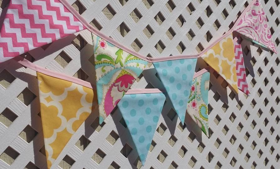 Blue /& Pink Gingham And Polka Dot Personalised Baby Shower Bunting Party Banner