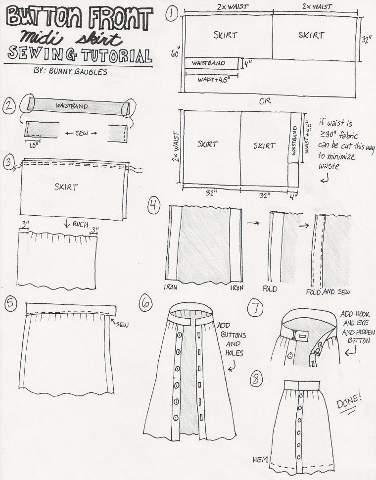 How to make a button up skirt sewing instructions Sometimes we go to the store or the neighbor There are only three things we want to take with us the key the wallet the...