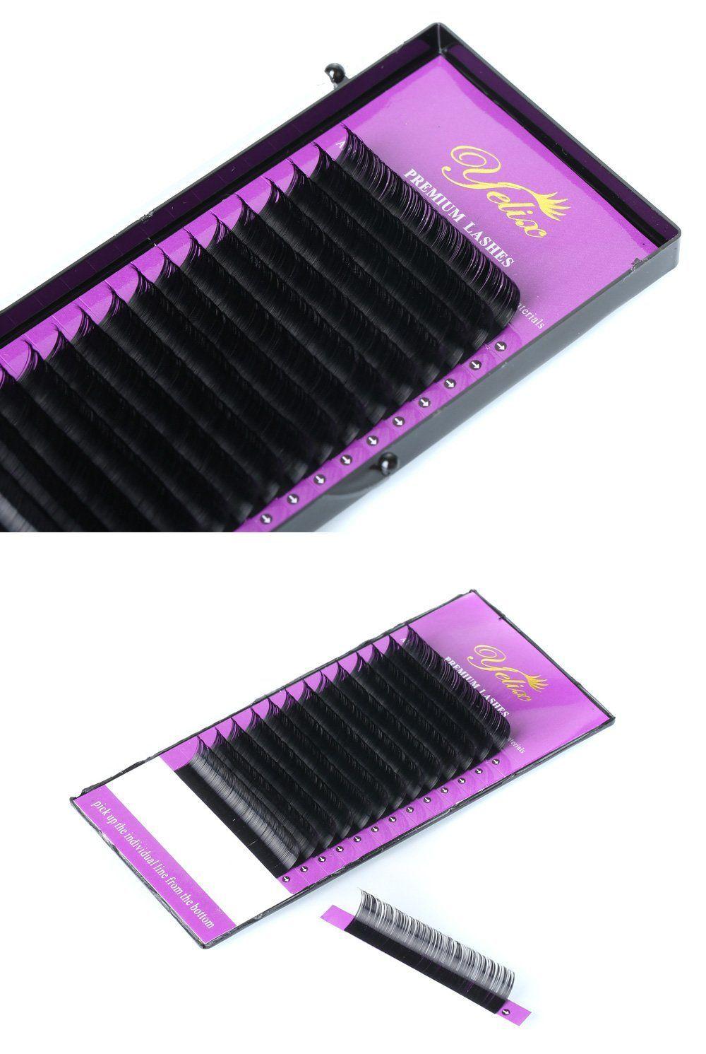 ab250ca5d87 Individual False Eyelashes Extension Natural Fake Eyelash Single tray Eye Lashes  Mink Eyelash Extention Black C