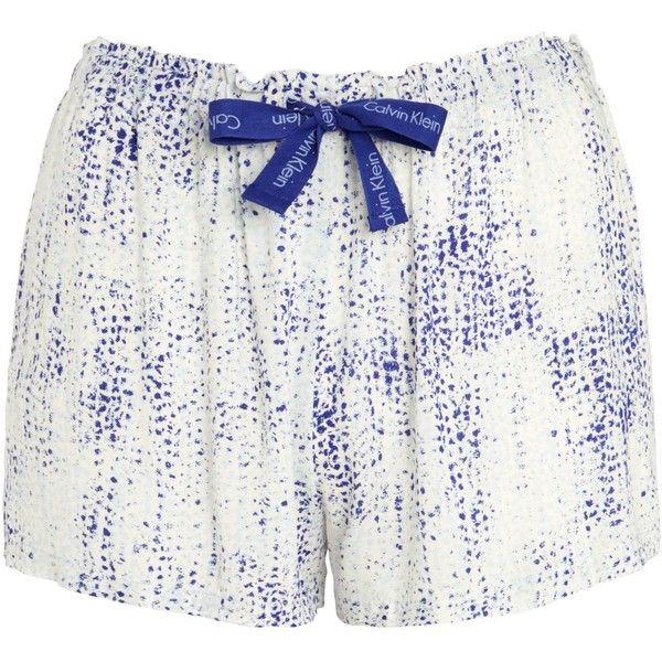 Calvin Klein Graphic Bonded Skin Print Pyjama Shorts, White/Blue ($40) ❤ liked on Polyvore featuring intimates, sleepwear, pajamas, modal pajamas, blue pajamas, calvin klein, calvin klein sleepwear and calvin klein pajamas