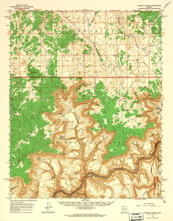 Topographic Map Grand Canyon.Grand Canyon National Park Map Vintage Topographic Map National