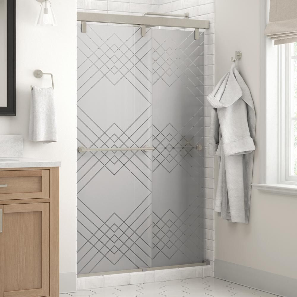 Delta Mandara 48 X 71 1 2 In Frameless Mod Soft Close Sliding Shower Door In Nickel With 1 4 In 6mm Argyle Glass Sd3442492 Shower Doors Tub Shower Doors Frameless Sliding Shower Doors