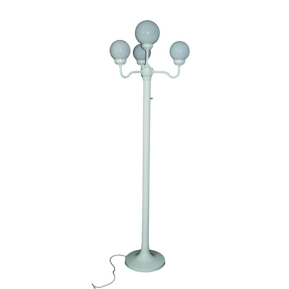 Polymer Products 76 in. Outdoor White Four Globe Luminaire Floor Lamp with Stand