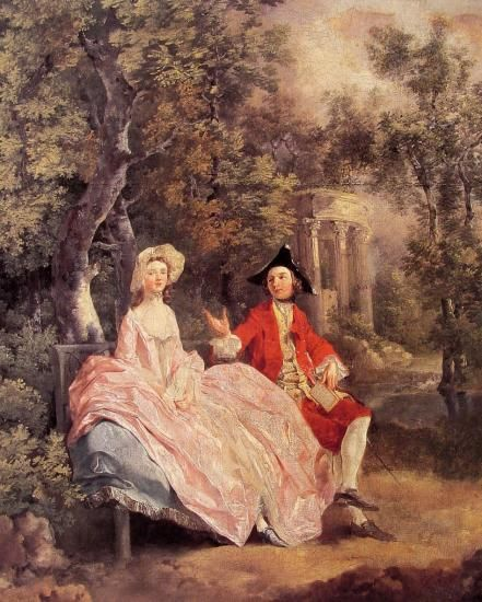 Conversation in a Park :: Thomas Gainsborough - Romantic scenes in art and painting