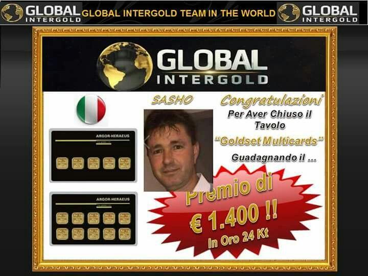 GLOBAL INTERGOLD - Complimenti a Sasho che chiude il suo ordine Goldset MultiCards, il Tavolo più bello del Mondo e ritira il suo Premio di 1.400€ in oro 24kt per ripeterlo ancora quante volte vorrà.  Complimenti Sasho!! #openyourmindnow #GlobalInterGoldGoldLifeStyle www.goldlifestyle.myintergold.com