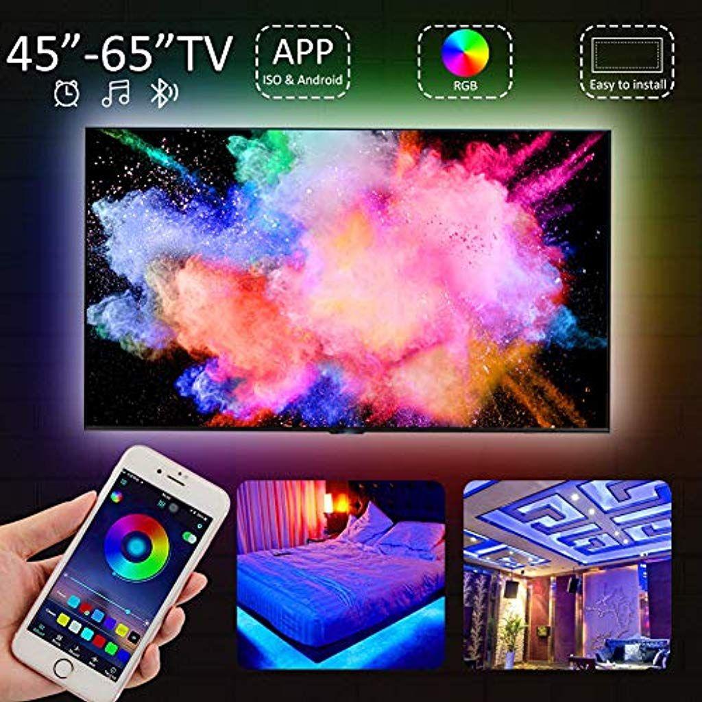 Etmury Led Tv Hintergrundbeleuchtungusb Led Strip Bluetooth App Gesteuert Musik Induktion 16 Millionen Color Wasserdicht Mit Bildern Led Stripes Led Hintergrundbeleuchtung