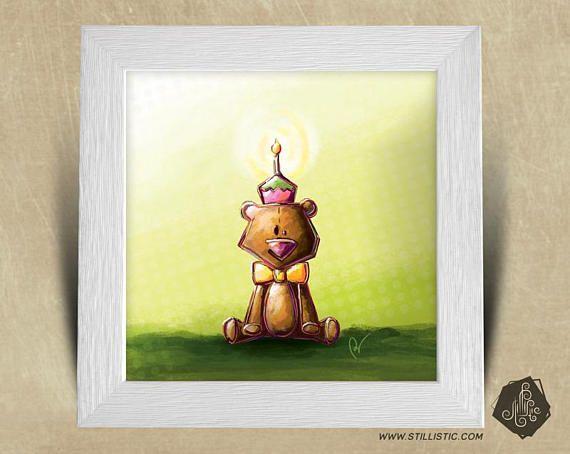 Cadre carré 25x25 cadeau Noël avec Illustration Petit ours et