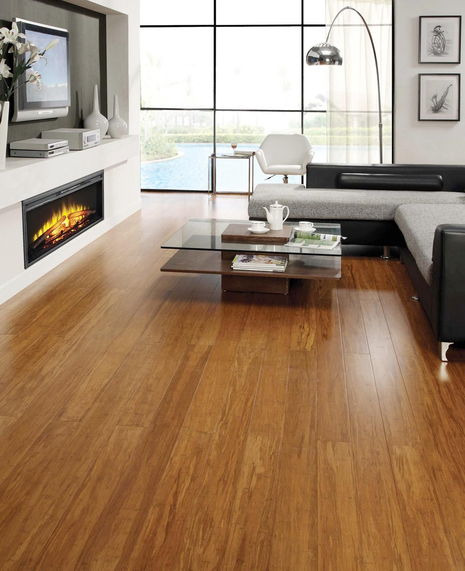 9 Bamboo Flooring Pros and Cons   Dark wood living room ...
