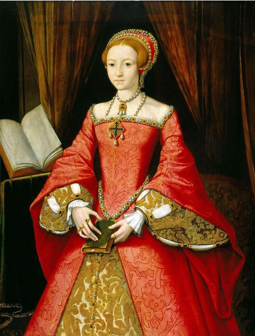 QUEEN ELIZABETH I IN RED DRESS PORTRAIT PAINTING ENGLAND ART REAL CANVAS PRINT