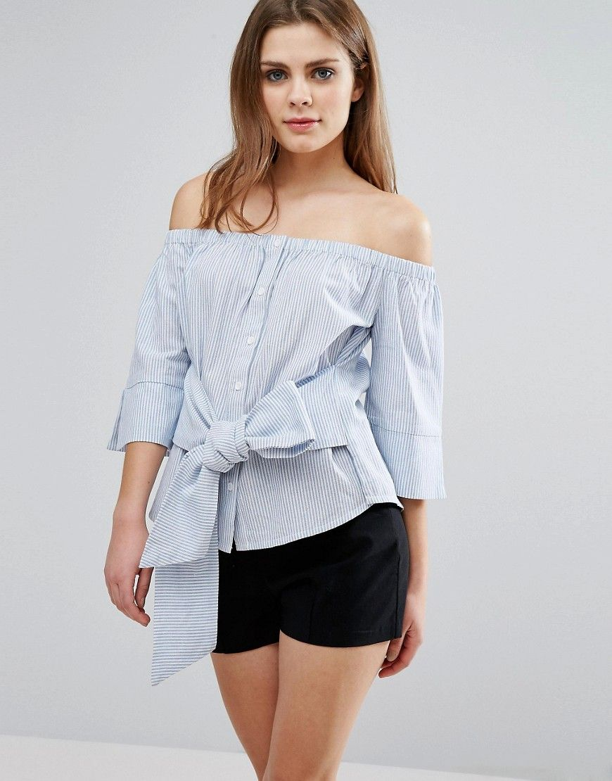 363405c1c4ceb Buy it now. Influence Tie Front Bardot Top - Blue. Top by Influence ...