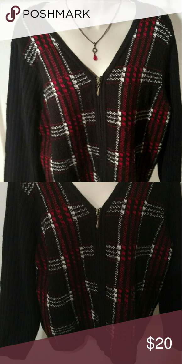 Zippered sweater top Very warm and pretty. Says size large. But petite fit. Little too short on me. Otherwise I'd keep it! Norton McNaughton Sweaters Cardigans