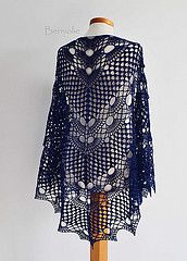 942 Blue indigo crochet shawl (BernioliesDesigns) Tags: blue wool lace crochet wrap shawl triangular berniolie