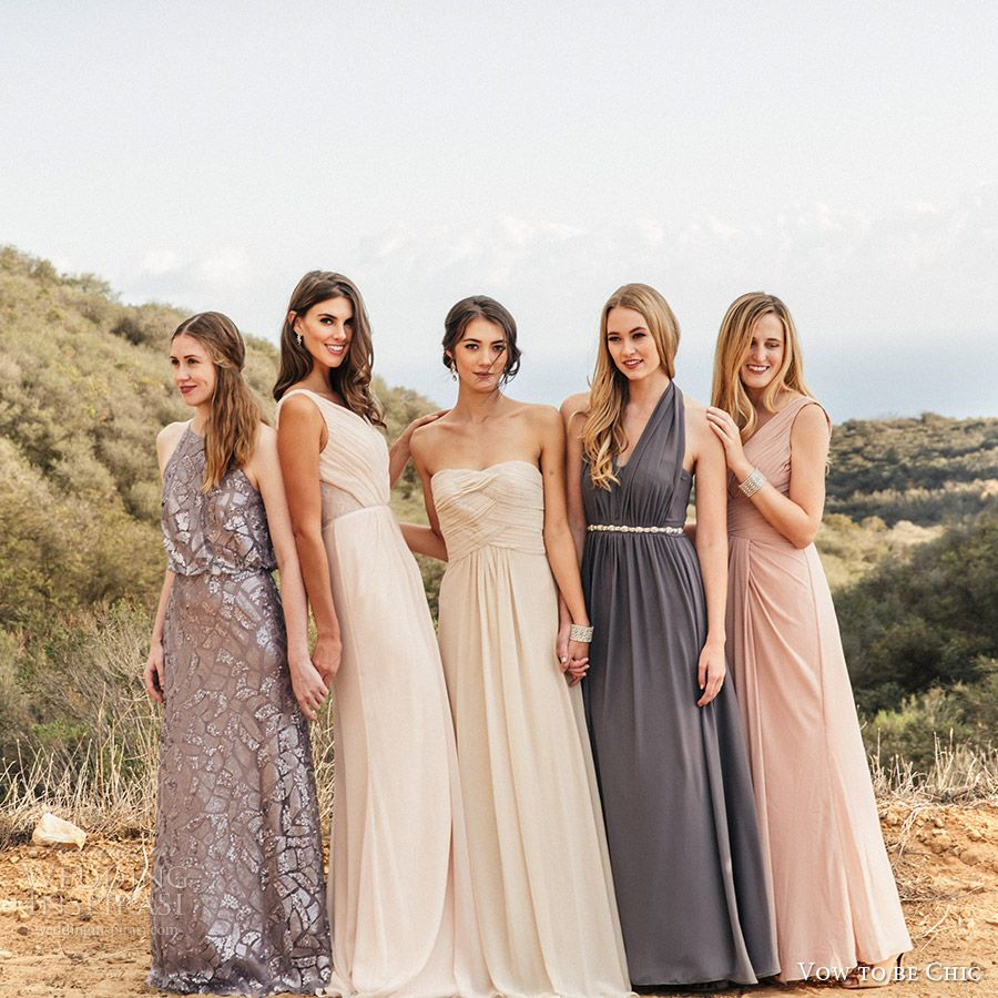 Bridesmaid trend report 2016 featuring vow to be chic designer vow to be chic 2016 metallics silver gray blush neutral mix match bridesmaid dresses for rent ombrellifo Choice Image
