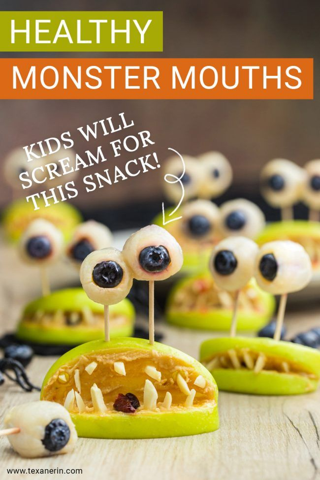 Amazing, Healthy Monster Mouth snacks for kids. These healthy Halloween treats will please any child. They even come with yummy eyes! Free of processed foods, candy and dyes, these are one snack that you want to serve your family and friends.