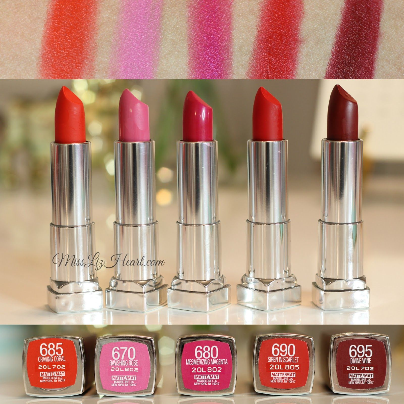 80fd8cad293 The Bolder Shades from the New Maybelline Color Sensational Creamy Matte  Lipstick Swatches