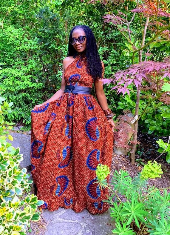 NEW. LOLA African print maxi dress