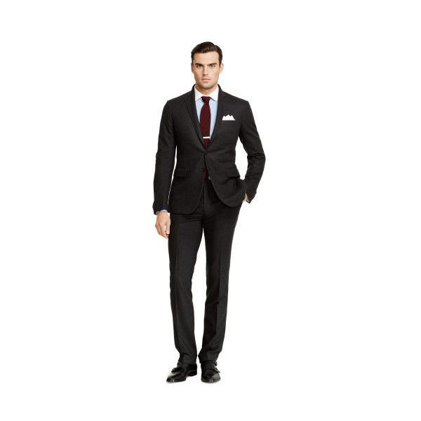 Ralph Lauren Nigel Wool Flannel Suit ($2,295) ❤ liked on Polyvore featuring men's fashion, men's clothing, men's suits, charcoal, ralph lauren mens suits, ralph lauren mens clothing, mens tailored suits, mens wool suits and mens 3 button suits