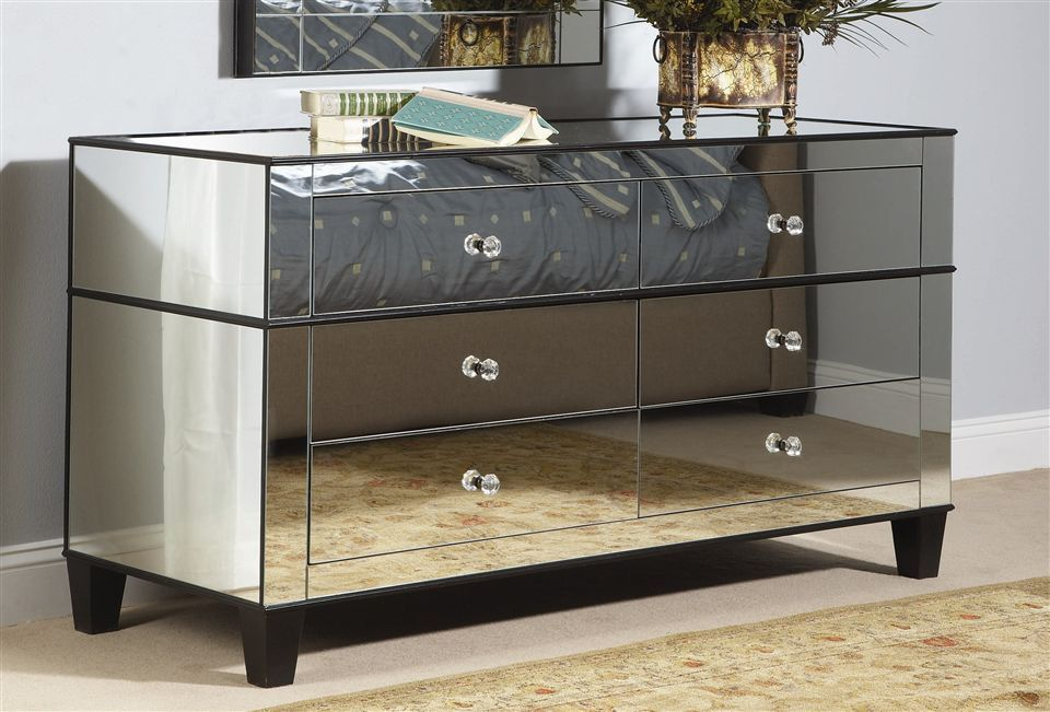 Bassett Mirror - 6 Drawer Chelsea Mirrored Dresser w Cappuccino ...