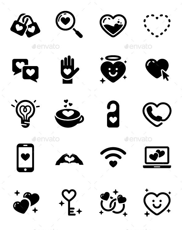 Couple Love Heart Valentines Day Cute Vector Icon Icons