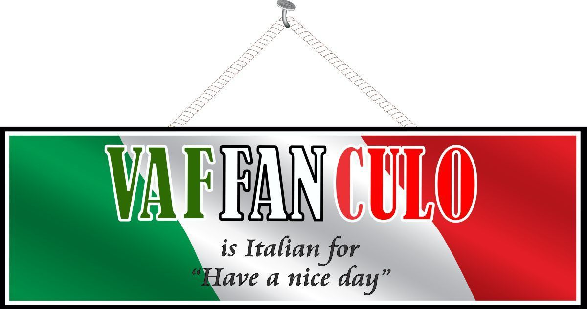 Vaffanculo Have A Nice Day Funny Quote Sign With Elegant Font And