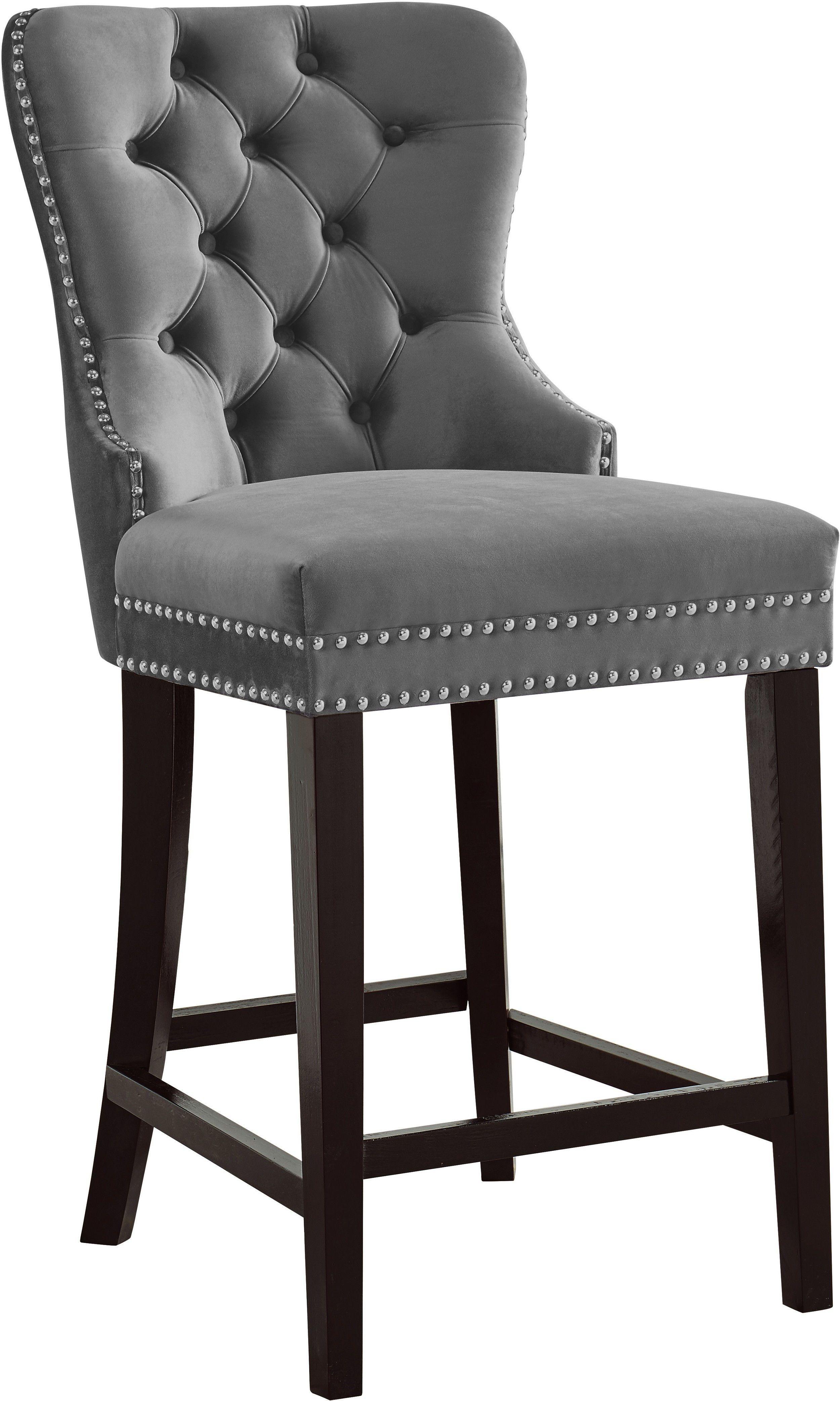 Nikki Gray Bar Stool 741 Meridian Furniture Bar Tables In 2021 Grey Bar Stools Meridian Furniture Velvet Stool