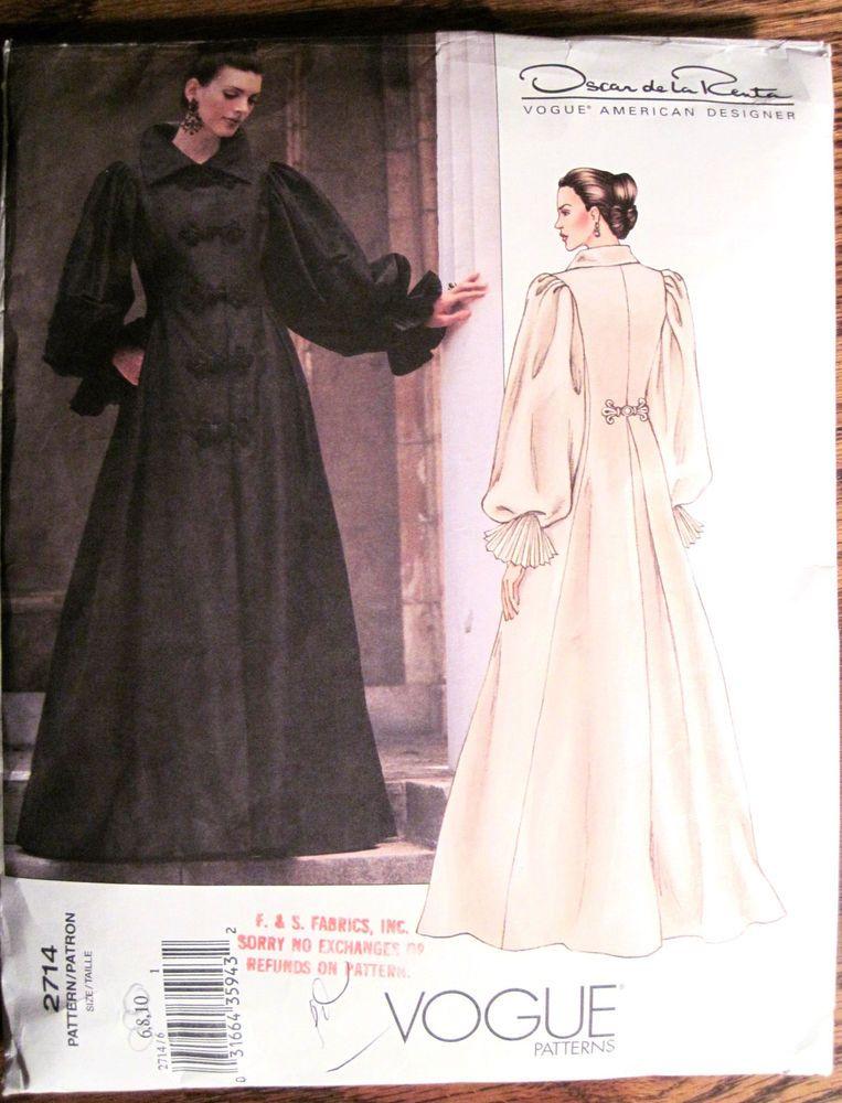 Vintage Vogue Oscar de la Renta Long Evening Coatdress Pattern Sz 6 ...