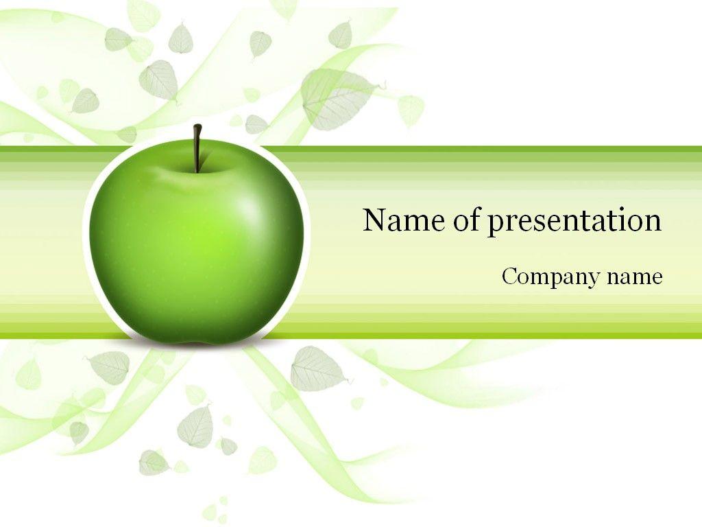 Green Apple PowerPoint Template Apple powerpoint, Apple