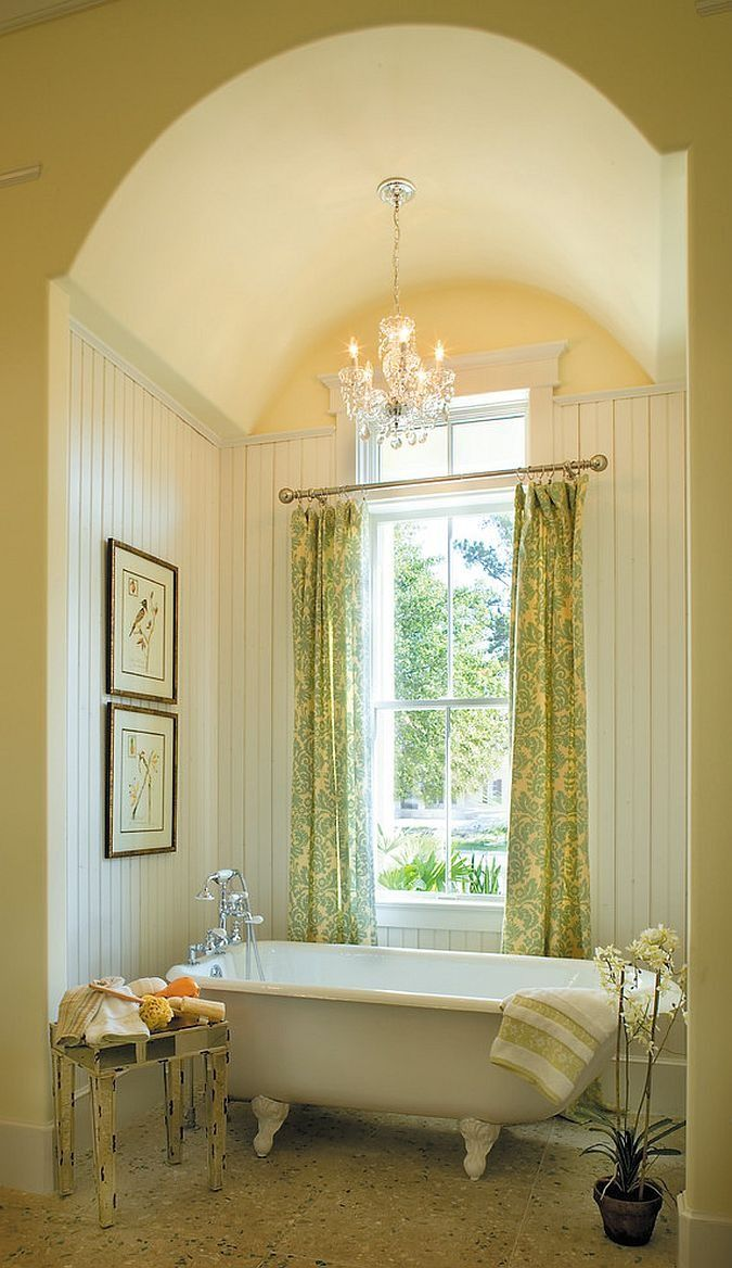 Small Bathroom With Rounded Ceiling Containing Crystal Chandelier With Clawfoot Tub Also Reclaimed Wood Towel S Shabby Chic Bathroom Home Beach Style Bathroom