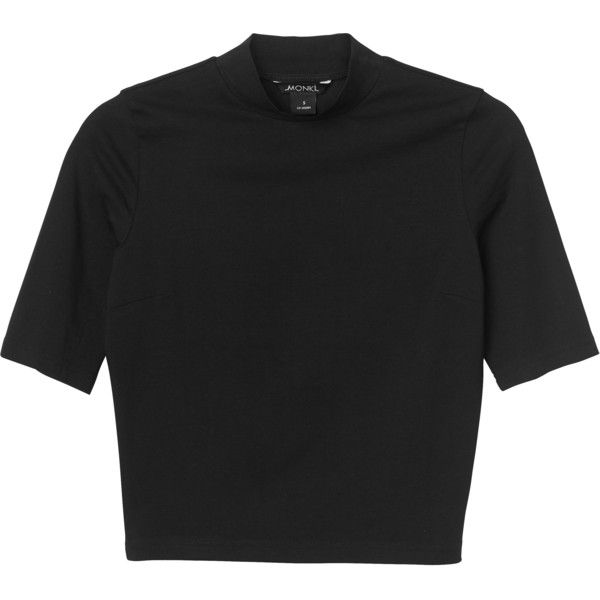 Monki Leila top (€9,32) ❤ liked on Polyvore featuring tops, t-shirts, shirts, crop top, black magic, crop t shirt, crop tee, collar top, shirt tops and collared shirt