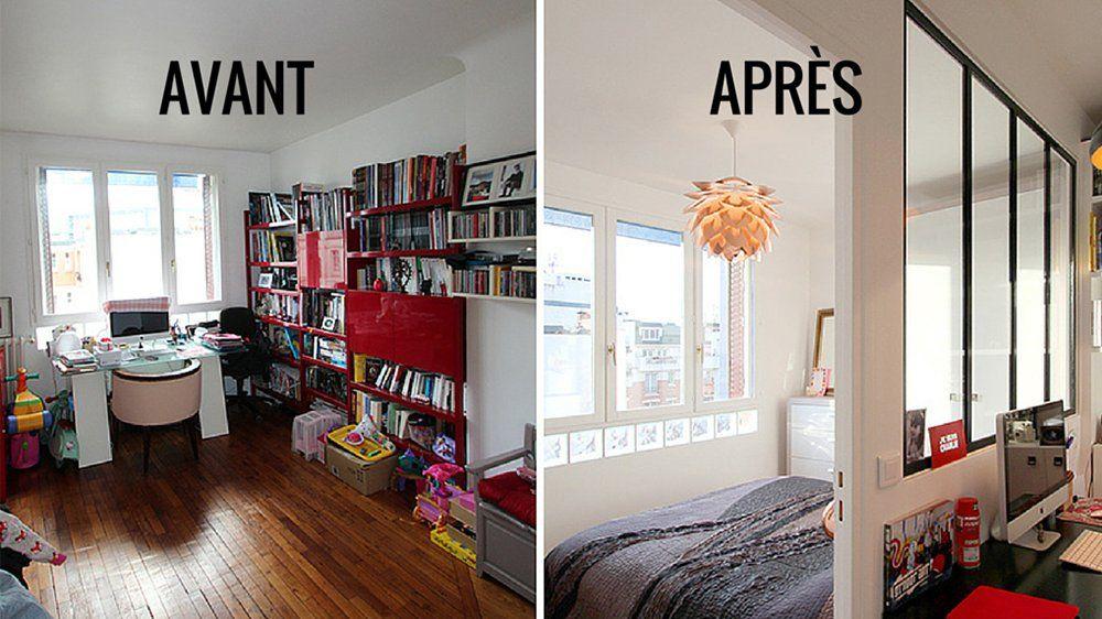 Avant apr s repenser un salon pour y int grer une chambre parentale m6 chambres - Chambres parentales ...