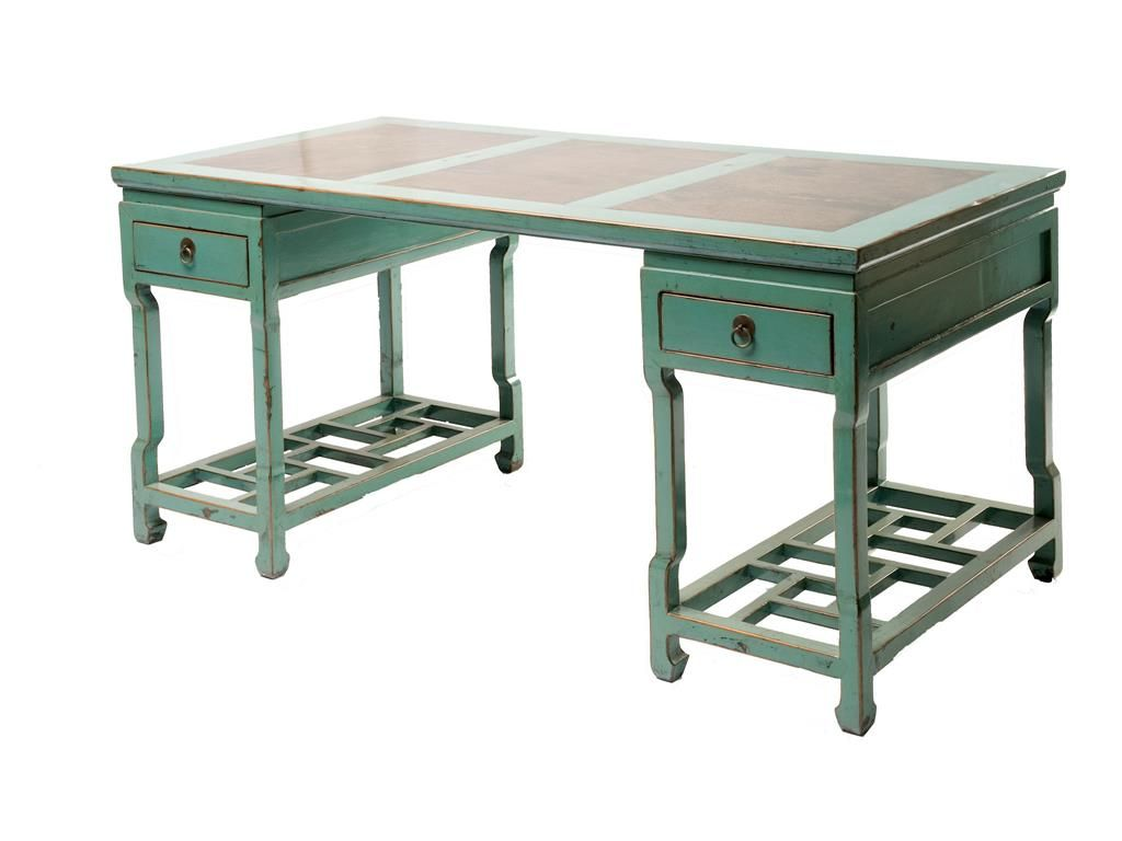 Four Hands Zhang Large Aqua Lattice Desk With Marble Top