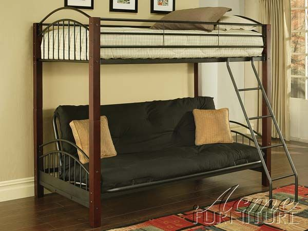 Jenell Cherry Black Wood Metal Twin Full Convertible Futon Bunk Bed