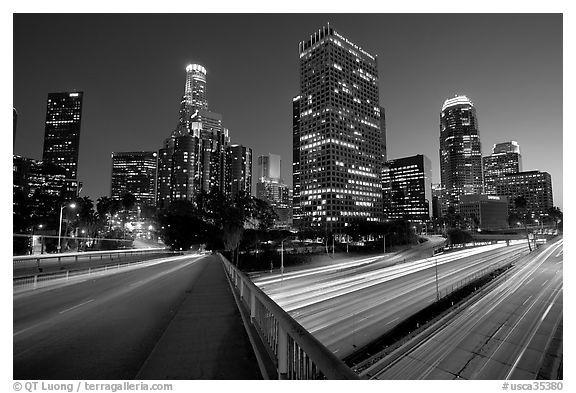 Bridge Harbor Freeway And Skyline Los Angeles Skyline Skyline Black And White Pictures