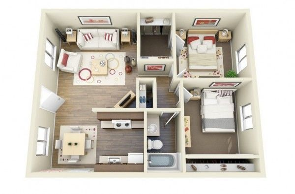 2 Bedroom Apartment House Plans Apartment Floor Plans Bedroom House Plans Small House Plans
