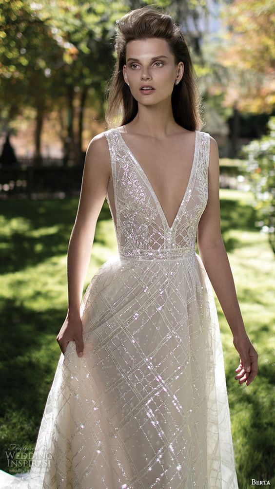 Berta Fall 2016 Bridal Gorgeous Pretty A Line Wedding Ball Gown Dress Sleeveless Deep V Plunging
