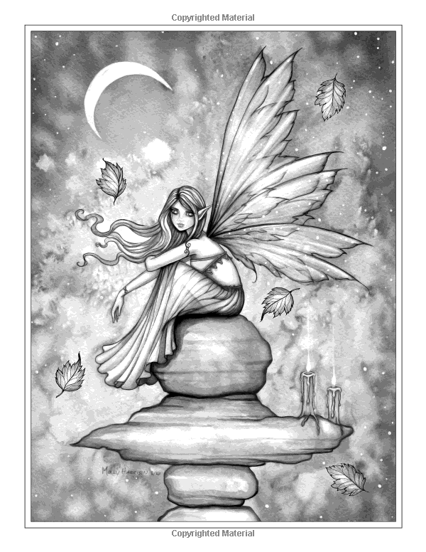 autumn magic grayscale coloring book autumn fairies witches and more molly harrison 9781535124348 amazoncom books