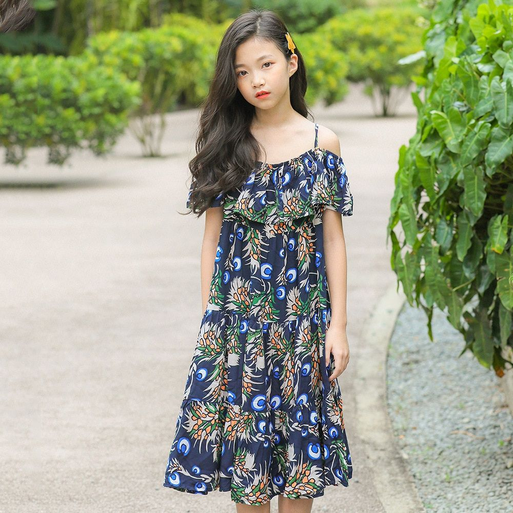 abb031bb866 Find More Dresses Information about Girls Dress 2019 Summer Floral Sling  Princess Dress Cotton Kids Dresses for Girls 12 Years Children Clothing Kids  ...