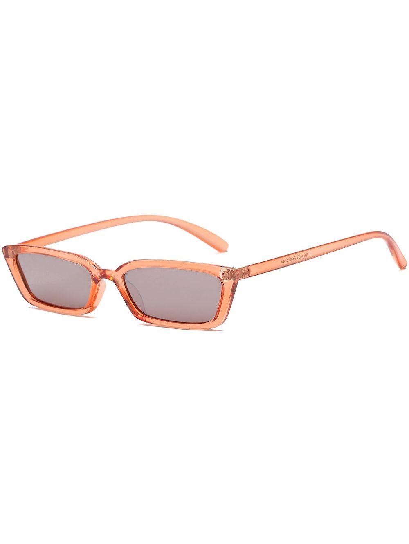 d53ae17f65 Vintage Rectangle Shaped Flat Lens Sunglasses - ORANGE