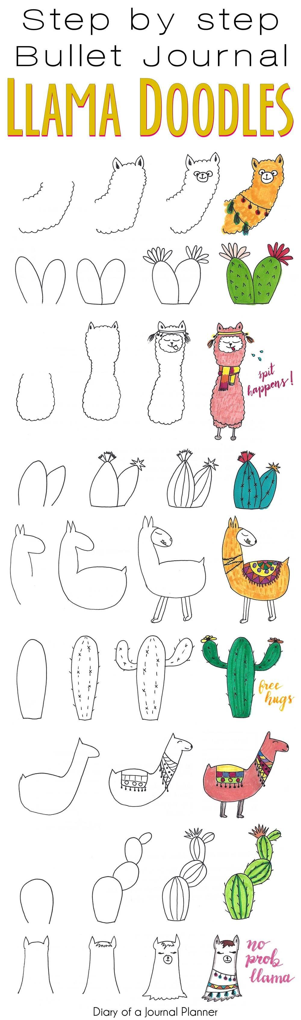 Llama doodles. Step by step tutorial for your bullet journal or planner #doodles #bulletjournal #bujo #doodles