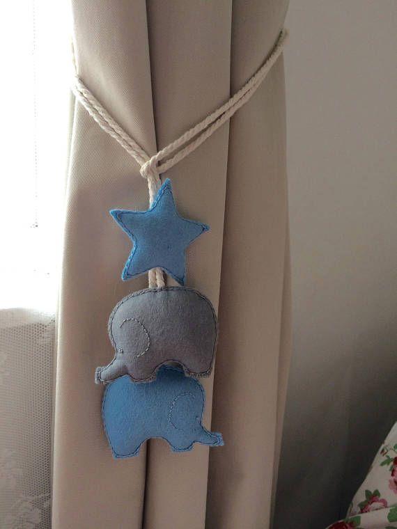 Photo of Items similar to Elephant curtain ties boys nursery decor nursery curtain tie-ba