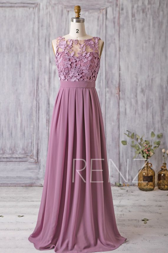 2017 Mauve Bridesmaid Dress Long Dress Lace Illusion Wedding 2c6c5ccc7ad6
