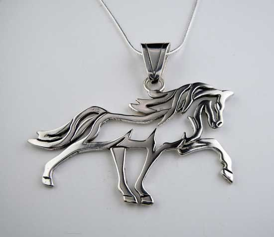 925 Sterling Silver Animal Charm Pendant Horse and Foal Heads