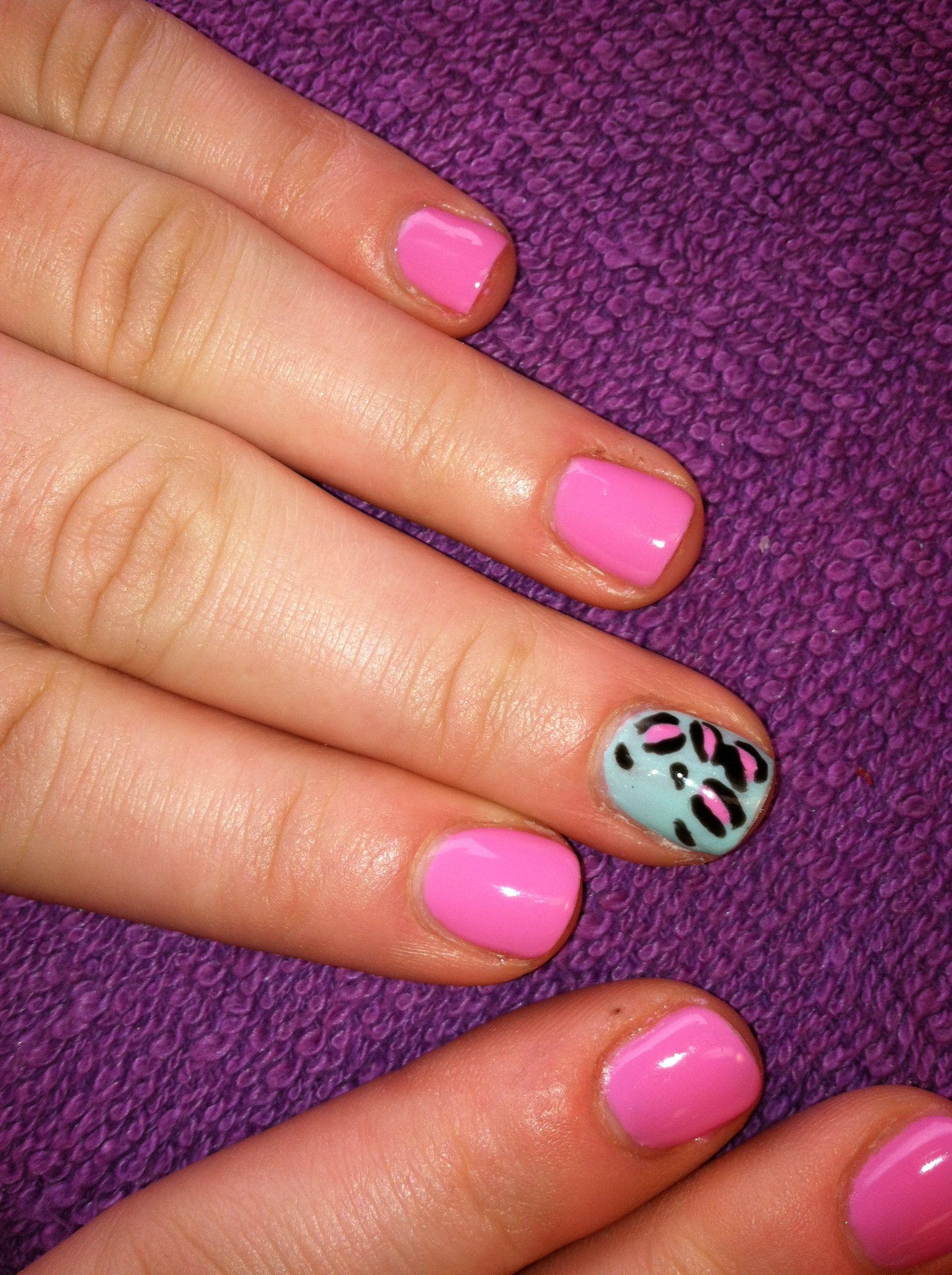 Spring leopard print shellac nails