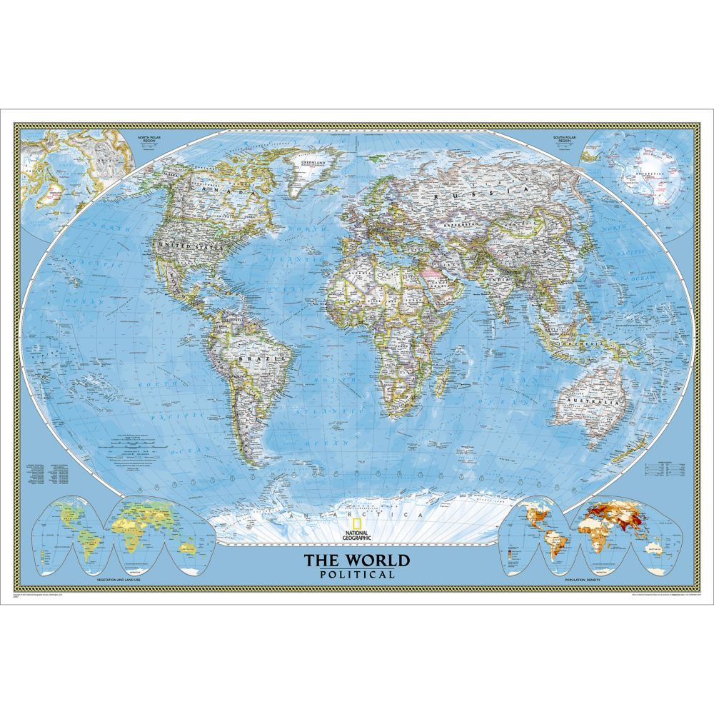 World Mural Map Blue Ocean National Geographic Store Art Mapa