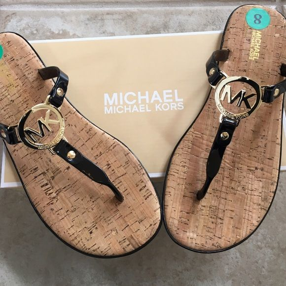 548fe17f077d ✨MICHAEL KORS sandals - brand new in box MICHAEL KORS sandals - brand new  with box! Black with gold MK logo