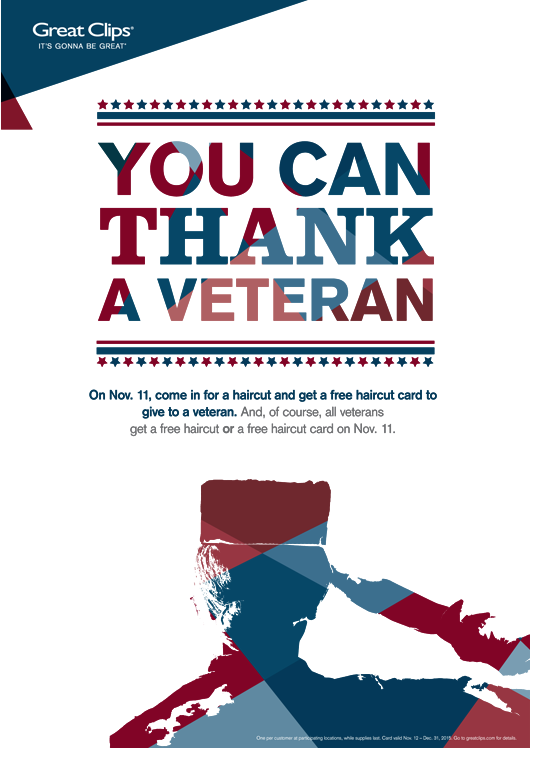 Free Haircut For Veterans At Great Clips Passionate Penny Pincher Veterans Day Thank You Free Haircut Soldier Wife