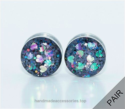 Handmade Iridescent Heart Plugs / 6g to 1 inch Check It Out Now     $25.00    A pair of beautiful and fun iridescent heart plugs! These plugs feature black iridescent glitter with iridescent hear ..  http://www.handmadeaccessories.top/2017/03/21/handmade-iridescent-heart-plugs-6g-to-1-inch/