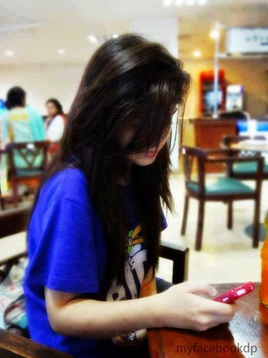 girl fb hide face dp in mall using cell facebook display pictures